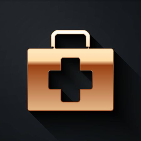 Gold First aid kit icon isolated on black background. Medical box with cross. Medical equipment for emergency. Healthcare concept. Long shadow style. Vector Illustration