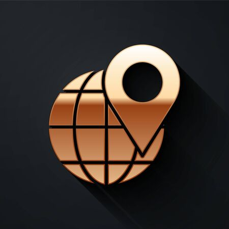 Gold Location on the globe icon isolated on black background. World or Earth sign. Long shadow style. Vector Illustration Ilustracja