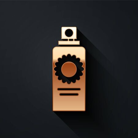 Gold Sunscreen spray bottle icon isolated on black background. Protection for the skin from solar ultraviolet light. Long shadow style. Vector Illustration Çizim