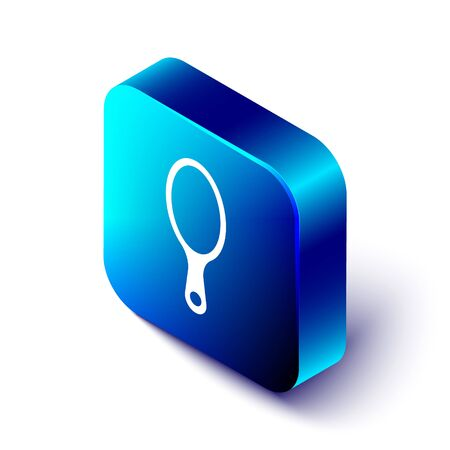 Isometric Hand mirror icon isolated on white background. Blue square button. Vector.