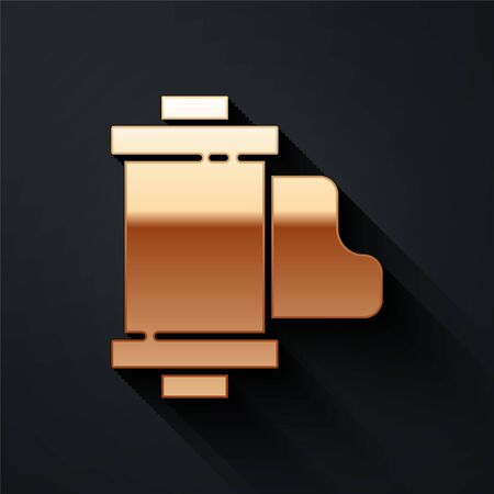 Gold Camera vintage film roll cartridge icon isolated on black background. 35mm film canister. Filmstrip photographer equipment. Long shadow style. Vector.