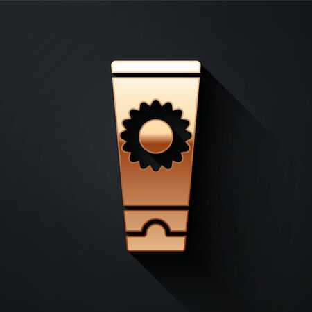 Gold Sunscreen cream in tube icon isolated on black background. Protection for the skin from solar ultraviolet light. Long shadow style. Vector. Çizim