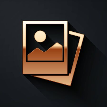 Gold Photo icon isolated on black background. Long shadow style. Vector.