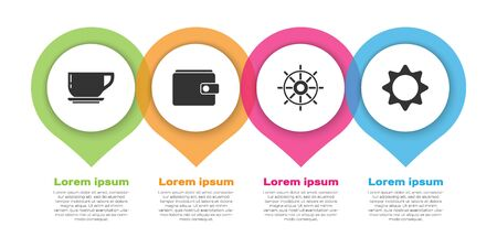 Set Coffee cup, Wallet, Ship steering wheel and Sun. Business infographic template. Vector.