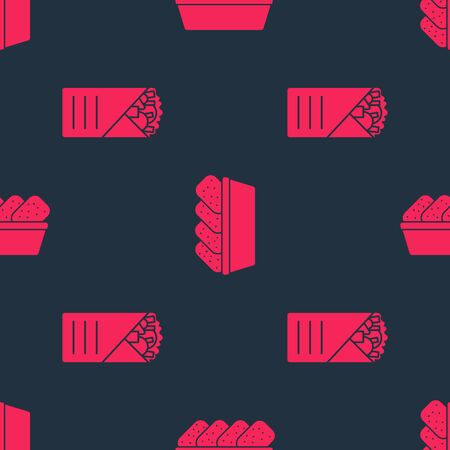 Set Doner kebab and Chicken nuggets in box on seamless pattern. Vector.