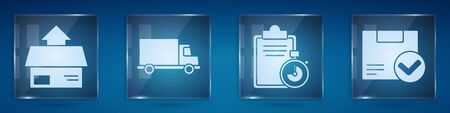 Set Carton cardboard box, Delivery cargo truck vehicle, Verification of delivery list clipboard and Package box with check mark. Square glass panels. Vector