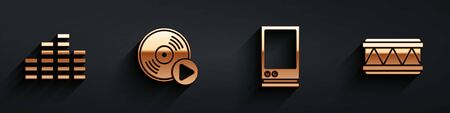 Set Music equalizer, Vinyl disk, Voice assistant and Drum icon with long shadow. Vector.