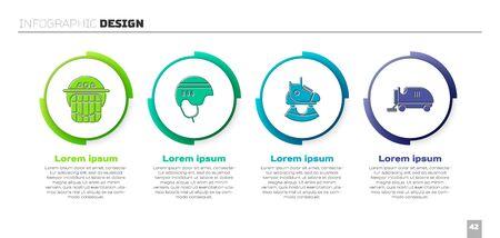 Set Hockey helmet, Hockey helmet, Skates and Ice resurfacer. Business infographic template. Vector.