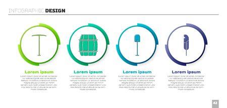 Set Pickaxe, Wooden barrel, Shovel and Feather pen. Business infographic template. Vector 일러스트