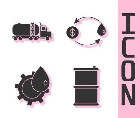 Set Barrel oil, Tanker truck, Oil industrial factory building and Oil exchange icon. Vector. Illustration