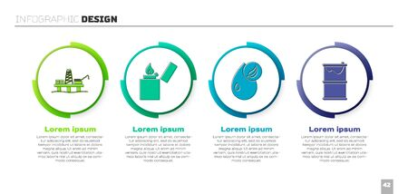 Set Oil platform in the sea, Lighter, Bio fuel and Barrel oil leak. Business infographic template. Vector.