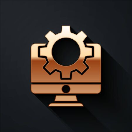 Gold Computer monitor and gear icon isolated on black background. Adjusting, service, setting, maintenance, repair, fixing. Long shadow style. Vector.