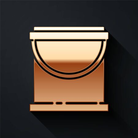 Gold Paint bucket icon isolated on black background. Long shadow style. Vector.