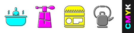 Set Bathtub, Perfume, Cream or lotion cosmetic tube and Kettle with handle icon. Vector