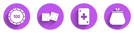 Set Casino chips, Game dice, Playing card with clubs and Wallet icon with long shadow. Vector. Illustration