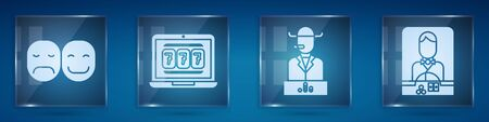 Set Poker player, Laptop and slot machine, Poker player and Casino dealer. Square glass panels. Vector.