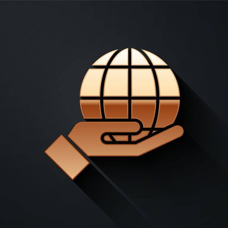 Gold Human hand holding Earth globe icon isolated on black background. Save earth concept. Long shadow style. Vector.