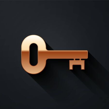 Gold Old key icon isolated on black background. Long shadow style. Vector.