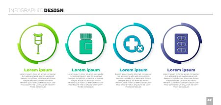 Set Crutch or crutches, Medicine bottle, Cross hospital medical and Pills in blister pack. Business infographic template. Vector.