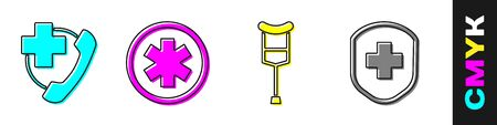 Set Emergency phone call to hospital, Medical symbol of the Emergency, Crutch or crutches and Medical shield with cross icon. Vector.  イラスト・ベクター素材