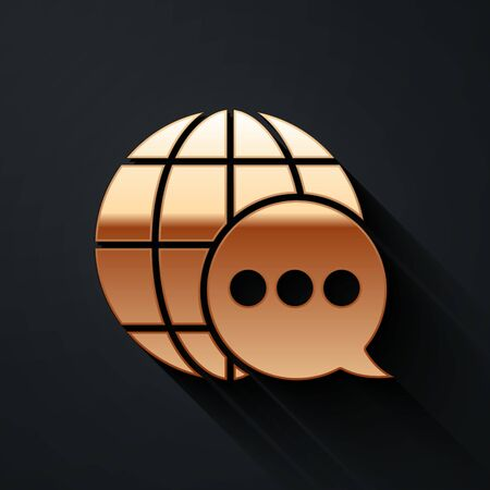 Gold World map made from speech bubble icon isolated on black background. Global communication scheme on Earth. Long shadow style. Vector Illustration Ilustracja