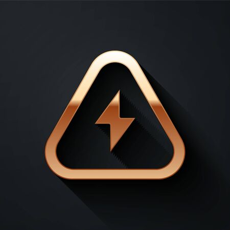Gold High voltage icon isolated on black background. Danger symbol. Arrow in triangle. Warning icon. Long shadow style. Vector.  イラスト・ベクター素材