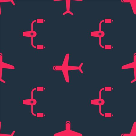 Set Aircraft steering helm and Plane on seamless pattern. Vector