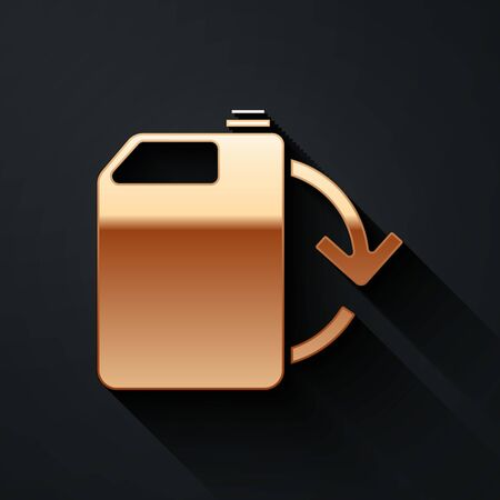 Gold Eco fuel canister icon isolated on black background. Eco bio and barrel. Green environment and recycle. Long shadow style. Vector.