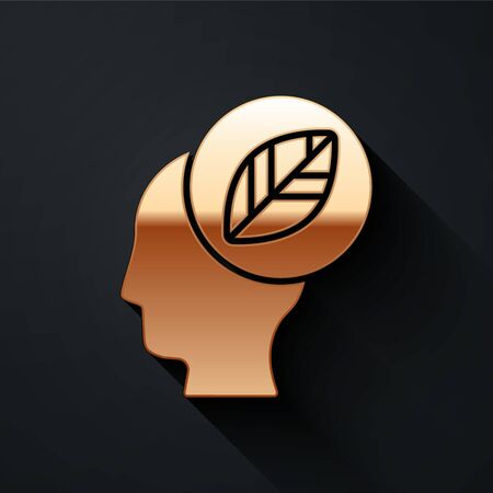 Gold Human head with leaf inside icon isolated on black background. Long shadow style. Vector.