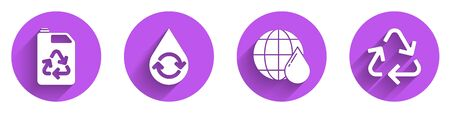 Set Eco fuel canister, Recycle clean aqua, Earth planet in water drop and Recycle symbol icon with long shadow. Vector.