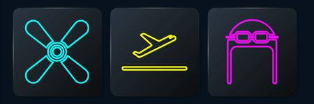 Set Isometric Plane propeller, Aviator hat with goggles and Plane takeoff icon. Vector.