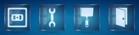Set Electrical outlet, Wrench spanner, Putty knife and Closed door. Square glass panels. Vector.