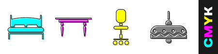 Set Big bed, Wooden table, Office chair and Chandelier icon. Vector.