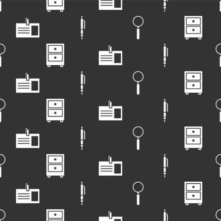 Set Magnifying glass, Drawer with documents, Identification badge and Pen on seamless pattern. Vector