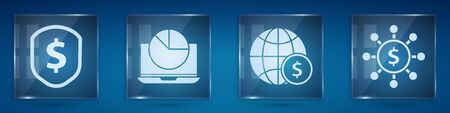 Set Shield with dollar, Laptop with graph chart, Earth globe with dollar and Dollar, share, network. Square glass panels. Vector. Ilustracja