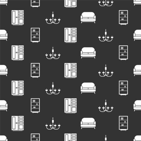 Set Sofa, Library bookshelf, Wardrobe and Chandelier on seamless pattern. Vector.