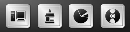Set Computer monitor, Glue, Pie chart infographic and CD or DVD disk icon. Silver square button. Vector