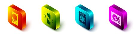 Set Isometric Hard disk drive HDD, Broken battery, Washer and Vinyl player icon. Vector
