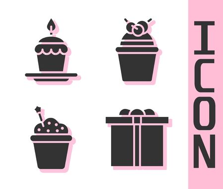 Set Gift box, Cake with burning candles, Cake and Cake icon. Vector Ilustração