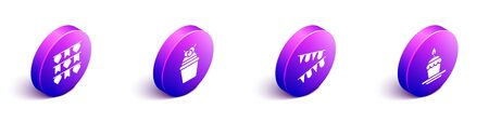 Set Isometric Carnival garland with flags, Cake, Carnival garland with flags and Cake with burning candles icon. Vector