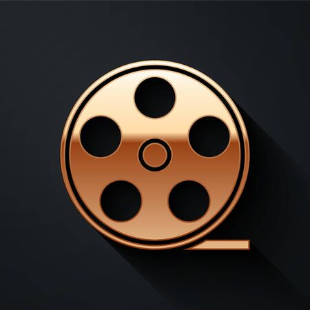 Gold Film reel icon isolated on black background. Long shadow style. Vector Illustration