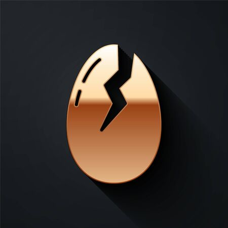 Gold Broken egg icon isolated on black background. Happy Easter. Long shadow style. Vector Illustration