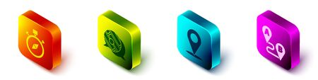 Set Isometric Compass, Infographic of city map navigation, Location and Route location icon. Vector