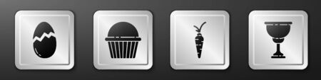 Set Broken egg, Easter cake, Carrot and Christian chalice icon. Silver square button. Vector