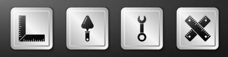 Set Corner ruler, Trowel, Wrench spanner and Crossed ruler icon. Silver square button. Vector.