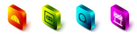 Set Isometric Worker safety helmet, Electrical outlet, Roulette construction and Road barrier icon. Vector.
