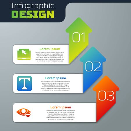 Set Laptop and cursor, Text and Red eye effect. Business infographic template. Vector