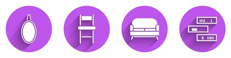 Set Mirror, Chair, Sofa and Shelf with books icon with long shadow. Vector. 向量圖像
