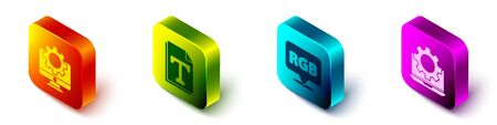 Set Isometric Computer monitor and gear, Text file document, Speech bubble with RGB and CMYK and Laptop and gear icon. Vector