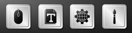 Set Computer mouse, Text file document, Globe of the Earth and gear and Paint brush icon. Silver square button. Vector